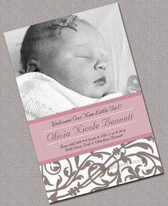 Girl Baby Birth Announcement Photo Cards