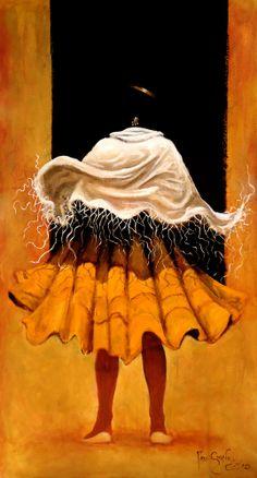 """""""El viento baila con una Cholita"""", acrílico sobre lienzo, 2013"""