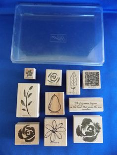 6 Roses in Winter & 4 All Natural Set Wood Mounted Rubber Stamps 2003 Stampin Up #StampinUp #Background