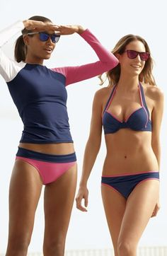 Tommy Bahama Swim Rashguard & Bikini Bottoms, 'Deck Piping' Bikini Top & Bottoms  available at #Nordstrom