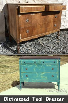 I've been positively itching to paint a teal dresser. I choose to paint a spring green color underneath with a bold teal over it. Unique Home Decor, Home Decor Items, Home Decor Accessories, Chalk Paint Projects, Chalk Paint Furniture, Diy House Projects, Easy Diy Projects, Furniture Update, Diy Furniture