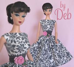 Rainy Day Roses - Vintage Barbie Doll Dress Reproduction Repro Barbie Clothes