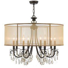 """Crystorama Lighting Group 5628 Hampton 8 Light 32"""" Wide Brass Drum Chandelier wi English Bronze Indoor Lighting Chandeliers"""