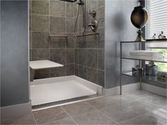 Tile Zero Threshold Shower #UniversalDesignTips >> Learn more about universal design at http://www.disabledbathrooms.org/universal-design-bathroom.html