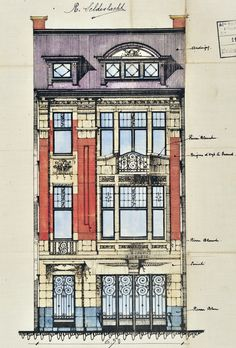 Architectural Drawing Design Schaerbeek - Avenue Ernest Cambier 101 - NOTÉRIS R. Architecture Baroque, Classic Architecture, Architecture Drawings, Facade Architecture, Historical Architecture, Planet Coaster, Victorian Buildings, House Drawing, Building Facade