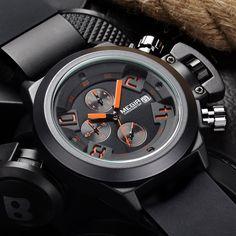 Men's Luxury Brand Quartz Sport Chronograph 6 Hand 24 Hours Clock Military Wrist Watch