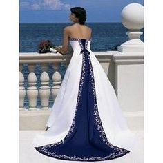 white-navy-blue-wedding-dress