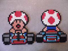 Toad Mario Kart Perler Bead Pattern Hama Beads Mario, Pearler Beads, Fuse Beads, Pixel Art, Yoshi, Bead Crafts, Arts And Crafts, Perler Patterns, Super Mario Bros