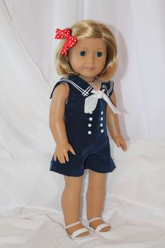 Sailor style romper for American Girl dolls. Only at www.alldolledup-dollclothes.com