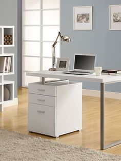 """White Hollow-Core Left Or Right Facing Desk - Monarch Specialties simple yet practical """"hollow-core"""" desk is the perfect addition to your home office. The white finished desk can conveniently be placed on the left or right side offering yo Metal Computer Desk, Computer Armoire, Small Computer, Buy Computer, Desk With Drawers, Storage Drawers, Storage Spaces, Home Office Desks, Home Office Furniture"""