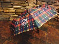 Plaid monogrammed umbrella.