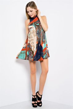 High mock neck, mini swing dress $39.00