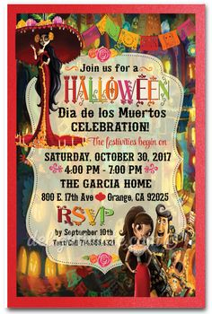Book of Life Halloween Party Invitations, day of the dead halloween invites, Dia de los Muertos halloween invitations for kids