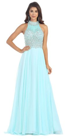 Long Formal Couture Sequins Chiffon Prom Dress