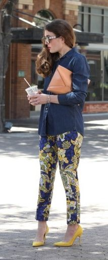 d6c60582c6f Add a bold touch to your look with our blue and yellow floral print pant  like