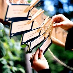 [EDIT: Many people confuse place cards and escort cards, and even the most experienced wedding professional on TV/in a bridal magazine will . Wedding Seating, Wedding Reception, Wedding Day, Wedding Tables, Wedding Stuff, Wedding Places, Wedding Place Cards, Karten Display, Clothes Pegs