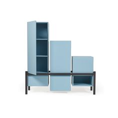 PALAFITTA_design Studio 14  Variably-shaped sideboard/bread chest, where differently-sized and multi-functional volumes (with open or drawer-fitted-up doors) make is modular at will. Lacquered tubular bearing frame, 40x40mm section.