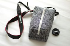 Digital slr Camera bag for Women Padded Travel neck case Black&White Canon Nikon Shoulder pouch insert Zip purse Handmade gift idea for her by TakeCraftsOut on Etsy