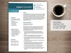 Creative resume template for word with cover letter and references, 2 page…