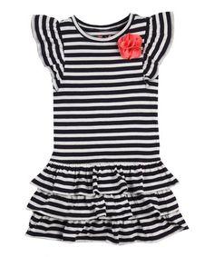 Loving this Black Stripe Ruffle Angel-Sleeve Dress - Infant, Toddler & Girls on #zulily! #zulilyfinds