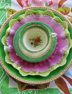 Vintage Tea - Colorful tea cup and saucer!