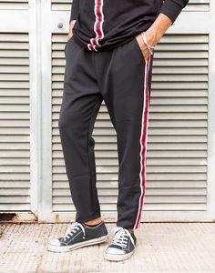 PANTALONI UOMO banda laterale - bianco rosso nero