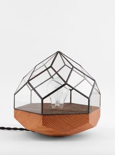 Wood base geometric lamp by Score + Solder