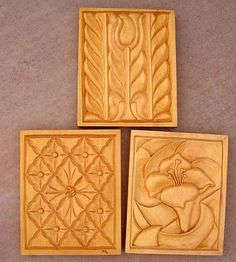 Vintage Wood Carving Relief Panels Bill Loewen Flower Folk Art 1982