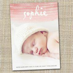 photo birth announcement  watercolor ombre