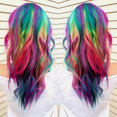 long layered rainbow hair