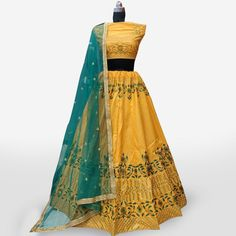Buy Gleaming Mustard Yellow Colored Partywear Embroidered Art Silk Lehenga Choli at Rs. Get latest Lehengas for womens at Peachmode. Lehenga Collection, Silk Lehenga, Mustard Yellow, India, Summer Dresses, Blouse, Stuff To Buy, Color, Women
