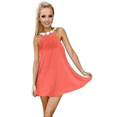 Kwok Dress Womens Summer Evening Party Beach Chiffon Backless Dress XL Watermelon Red *** Click image to review more details.