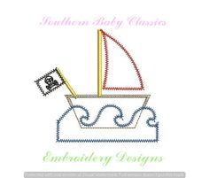 Pirate Flag Boat Sailboat with Waves Zig Zag Applique Nautical Boy Girl Design File for Embroidery Machine Instant Download by SouthernBabyClassics on Etsy