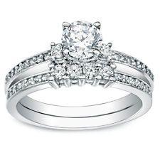 14K anillo nupcial del diamante 1 ct brillante redondo solitario conjunto oro blanco sólido