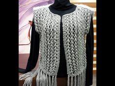 Parte1: Colete em tricô com franjas by Vitoria Quintal