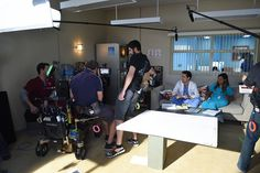 There's an open seat in the break room next to Mindy Kaling & Edward Weeks! #BTS #themindyproject