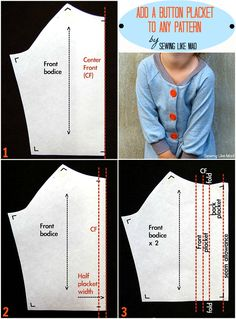 Sewing Like Mad: Sweatshirt dress + adding a button placket to any pattern tutorial.