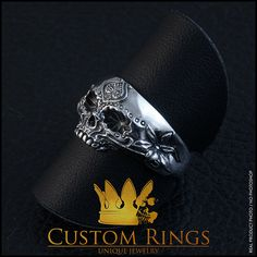 A personal favourite from my Etsy shop https://www.etsy.com/listing/258942858/sugar-skull-ring