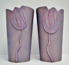 purple tulip vases by gail aspden