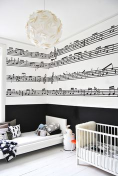 Music Notes Wall Stickers! I absolutely love this!!! Not for a bedroom for a music room...