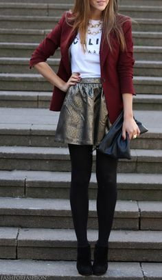 black leggings, burgundy blazer, metallic skirt