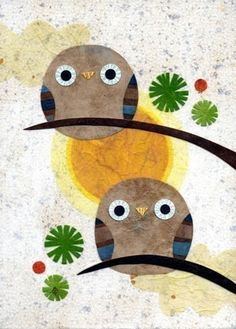 'Togetherness' owl collage by Kate Endle (Etsy)
