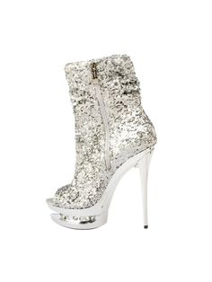 Be a showstopper with Women'S 5 Open Toe Sequin Bootie With Rhinestone Platform Inset. Fabulous selection of Casino Shoes & Boots for Halloween at PartyBell. Platform Stilettos, Stiletto Heels, High Heels, Halloween Costume Shoes, Funny Halloween, White Boots, Pointed Toe Pumps, Thigh High Boots, Ankle Booties