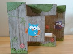 Giggle & Hoot Tri-fold shutter card by Belinda Neil Owl Card, Owl Punch, Card Making Techniques, Tri Fold, Folded Cards, Kids Cards, Diy Paper, Handmade Cards, Cardmaking