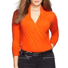 Lauren Ralph Lauren Plus Jersey Surplice Top ($37) ❤ liked on Polyvore featuring plus size women's fashion, plus size clothing, plus size tops, orange, plus size, orange top, faux wrap top, cross over top and women plus size tops