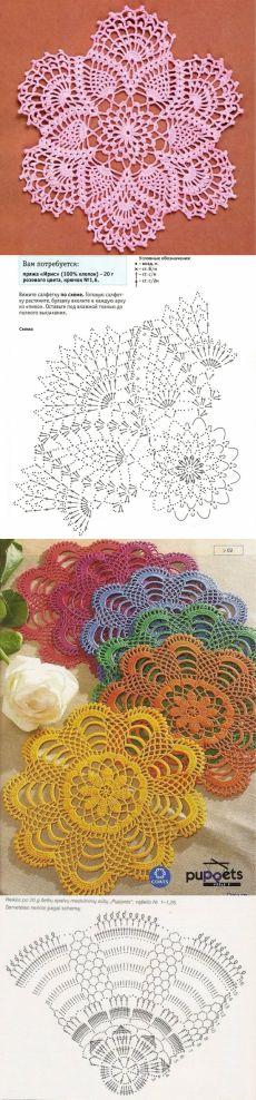Petits napperons ronds et leurs grilles gratuites ! - Fleurs et Applications au Crochet