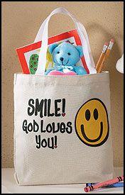 Smile, God Loves You Smile Face Tote Bag