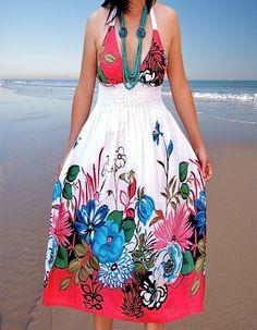 Ladies dress/Sun dress/Women dresses /floral dresses/summer dresses. $31.90, via Etsy.