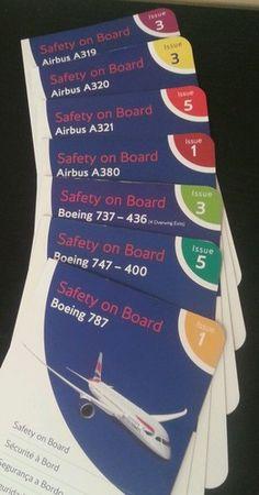 British Airways safety card collection