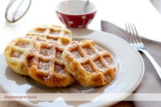 Puff pastry waffles filled with fruit jam